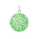 Small Silver St Christopher Medal with Light Green Enamel
