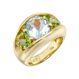 "Blue Topaz & Peridot ""485"" Three-Stone Ring"