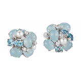 "Aquamarine, Pearl & Diamond ""Bubble"" Earrings"