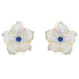 "Rock Crystal, Sapphire & Diamond ""Clematis"" Flower Earrings"
