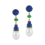 "Lapis, Chrysoprase & Pearl ""Canton"" Drop Earrings"