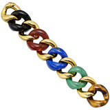 Large 18k Gold & Mixed Stone Link Bracelet