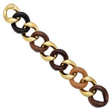 Large 18k Gold & Mixed Woods Link Bracelet