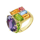 "Multicolored Gemstone ""Mosaic"" Cocktail Ring"