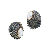 Nerita Exuvia Shell Earclips with Pearl Caps