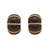 "18k Gold & Rosewood ""Shrimp"" Earrings"