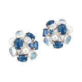"Sapphire, Moonstone & Pearl ""Bubble"" Earrings"