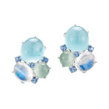"Aquamarine, Moonstone & Prehnite ""Triple Cabochon"" Earrings"