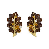 18k Gold, Rosewood, Pearl & Citrine Leaf Earrings