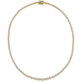 Larger & Smaller Round Diamond Line Necklace (~10 ct tw)