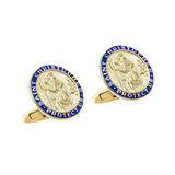 14k Gold St. Christopher Cufflinks with Blue Enamel