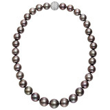 Black Cultured Pearl Necklace with Pavé Diamond Clasp