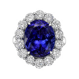 10.15 Carat Tanzanite & Diamond Cluster Ring