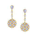 "Moonstone Cluster ""Mandala"" Drop Earrings"