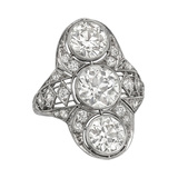 Bezel-Set Three Diamond Panel Ring