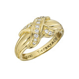 "18k Yellow Gold & Diamond ""X"" Band Ring"