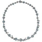 "Aquamarine & Diamond ""Enchant"" Flower Necklace"