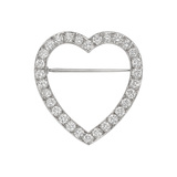 Platinum & Diamond Heart Pin