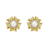 18k Yellow Gold & Pearl Stud Earrings