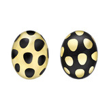 18k Gold & Black Jade Spotted Domed Earclips