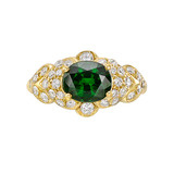 Tsavorite & Diamond Cluster Ring