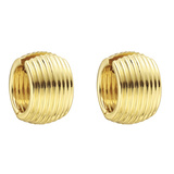 Fluted 18k Yellow Gold Wide Hoop Earrings