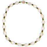 Rock Crystal & Green Tourmaline Bead Necklace
