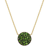 Medium 18k Yellow Gold & Tsavorite Circle Pendant
