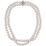 2-Strand Pearl Necklace with Diamond Cluster Clasp
