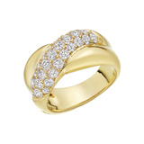 18k Yellow Gold & Diamond Crossover Ring