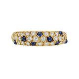 Sapphire & Diamond Domed Band Ring