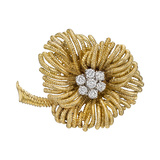 18k Yellow Gold & Diamond Flower Pin