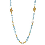 "Aquamarine Bead ""Byzantine"" Long Necklace"