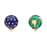 "18k Gold & Enamel ""Night & Day"" Earrings"