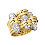 "18k Yellow Gold & Diamond ""Trio"" Ring"