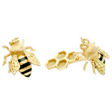 18k Yellow Gold & Enamel Honeybee Cufflinks