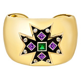 Maltese Cross Chrome Tourmaline & Amethyst Cuff Bracelet