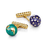 "18k Yellow Gold & Enamel ""Night & Day"" Cufflinks"