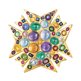"Multicolored Gemstone ""Theodora"" Pendant Brooch"