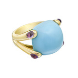 "Turquoise & Amethyst ""Candy"" Ring"