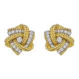 18k Yellow Gold & Diamond Pinwheel Earclips