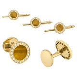18k Gold, Tiger's Eye & Diamond Dress Set