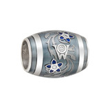 "18k White Gold & Enamel ""Blueberry"" Rondel"