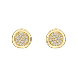 Small 18k Yellow Gold & Diamond Disc Earstuds