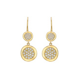 18k Yellow Gold & Diamond Double Drop Earrings