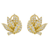 18k Yellow Gold & Diamond Leaf Earclips