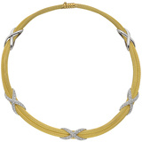 "18k Yellow Gold & Diamond ""X"" Motif Collar Necklace"