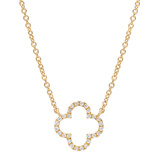 Small 18k Yellow Gold & Diamond Clover Pendant