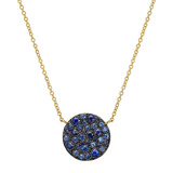 Medium 18k Yellow Gold & Sapphire Circle Pendant