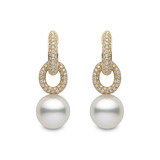 South Sea Pearl & Diamond Linked Drop Earrings